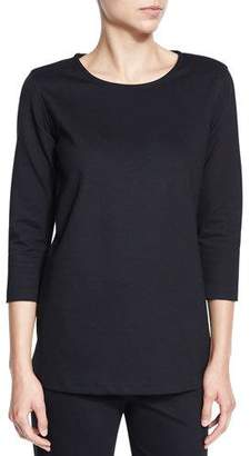 Caroline Rose 3/4-Sleeve Lux Stretch-Cotton Ponte Top, Petite