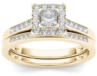 Imperial Diamond Imperial 1/2 Carat T.W. Diamond Single Halo 10kt Yellow Gold Engagement Ring Set