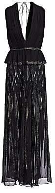 Alberta Ferretti Women's V-Neck Metallic Trim Gown