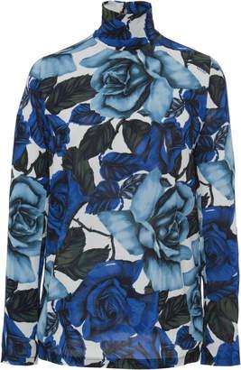 Prada Floral-Print Georgette Turtleneck Top Size: 36