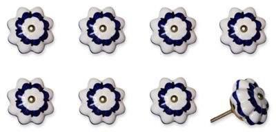 Knob-It! Vintage Hand Painted 8-Pack Ceramic Round Knob Set in White/Blue
