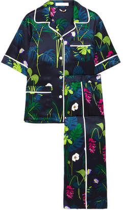 Olivia von Halle - Daria Printed Silk-satin Pajama Set - Navy