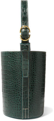 Trademark - Small Croc-effect Leather Bucket Bag - Dark green