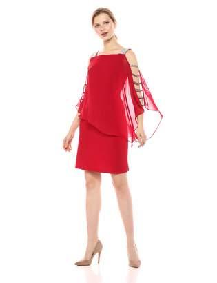 MSK Women's Overlay Dress w/bar Sleeve Trim