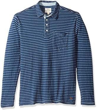 True Grit Men's Indigo Blue Stripe Long Sleeve Polo with Pocket
