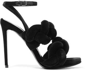 Marco De Vincenzo - Braided Velvet Sandals - Black $955 thestylecure.com