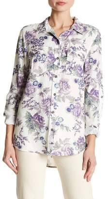 Nine West Carolina Military Floral Printed Button Down Shirt