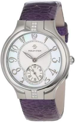Philip Stein Teslar Women's 41SD-FMOP-OLPRM Round Sport Diamond Mother-Of-Pearl Light Purple Ostrich Strap Watch