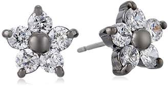 Betsey Johnson Crystal and Hematite-Color Star Flower Stud Earrings
