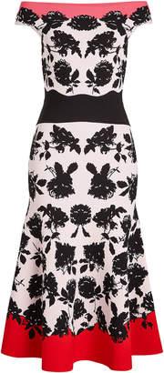 Alexander McQueen Intarsia Off-Shoulder Dress