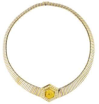 18K Diamond & Greek Coin Collar Necklace