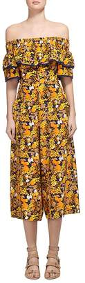 Whistles Silk Citrus Print Off-the-Shoulder Jumpsuit $499 thestylecure.com