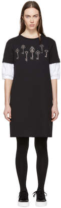 Alexander McQueen Black Puff Sleeve Magic Map Sweatshirt Dress