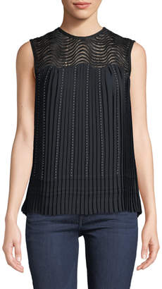 Yigal Azrouel Pleated Lace-Yoke Cocktail Top