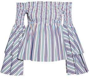 Caroline Constas Appolonia Off-The-Shoulder Shirred Striped Cotton-Blend Poplin Top