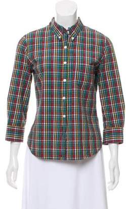 Boy By Band Of Outsiders Seersucker Gingham Top Green Seersucker Gingham Top