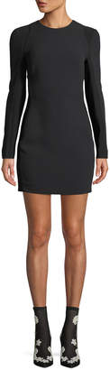Thierry Mugler Long-Sleeve Crewneck Body-Con Mini Cocktail Dress