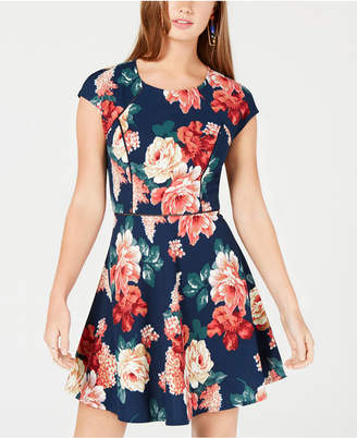 B. Darlin Juniors' Floral-Print Fit & Flare Dress