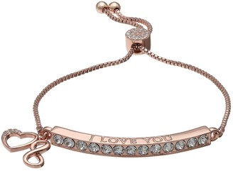 "Brilliance+ Brilliance ""Love"" Heart & Infinity Charm Adjustable Bar Bracelet with Swarovski Crystals"