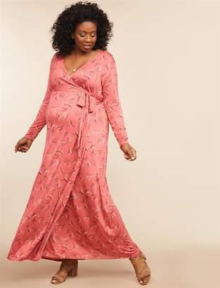 Motherhood Maternity Plus Size Wrap Maxi Maternity Dress