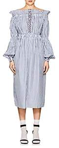 Teija TEIJA WOMEN'S STRIPED COTTON OFF-THE-SHOULDER DRESS-PALE BLUE, INDIGO STRIPE SIZE 8 UK