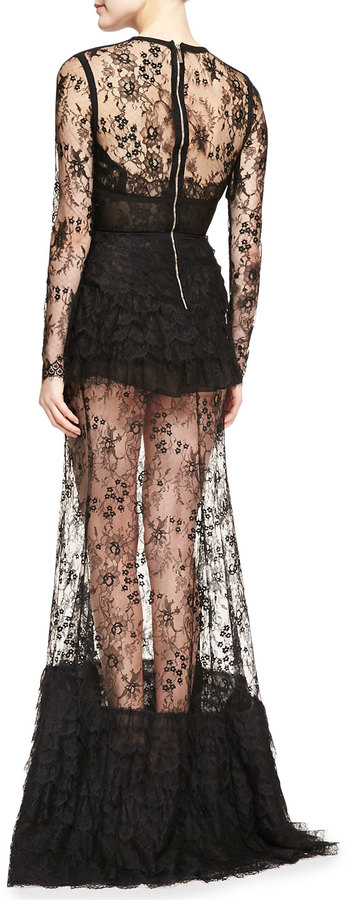 Elie Saab Sheer-Skirt Lace Long-Sleeve Gown