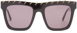 Stella McCartney Chain-embellished flat-top acetate sunglasses