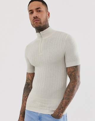 Asos Design DESIGN knitted muscle fit textured half zip t-shirt in off white