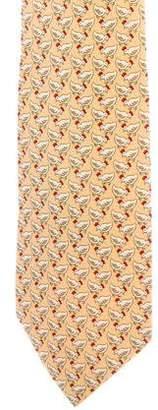 Hermes Silk Chicken Print Tie