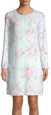 Miss Elaine Floral Thermal Short Nightgown