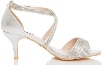 b217f6157 Dorothy Perkins Womens  Quiz Wide Fit Silver Shimmer Heels Sandals