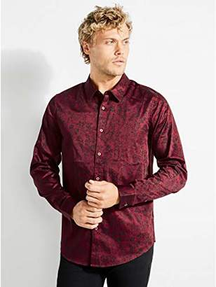 GUESS Men's Long Sleeve Luxe Floral Button Down Shirt