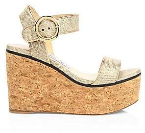 Jimmy Choo Women's Abigail Metallic Raffia Cork Wedge Sandals