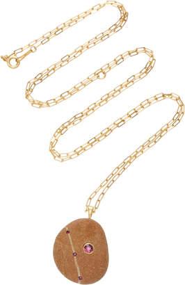 "Cvc Stones Ma Biche 18K Gold"" Stone And Ruby Necklace"