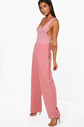 boohoo Popper Trouser & Bodysuit Co-Ord Set