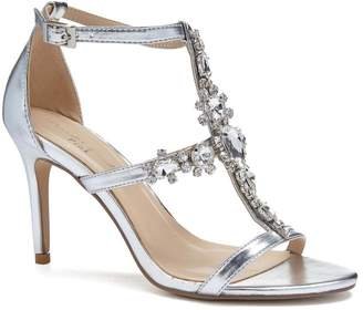 Paradox London Stella Silver High Heel Cross Front Crystal Sandals