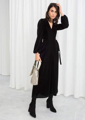 And other stories Velvet Midi Wrap Dress
