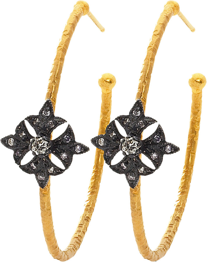 Sara Weinstock Diamond Small Maltese Cross Hoop Earrings