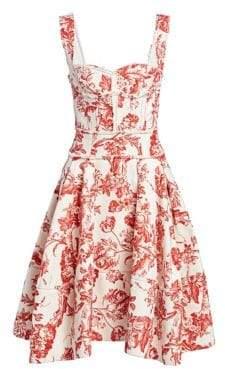 Oscar de la Renta Floral Corset Dress