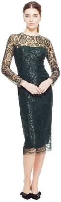 Lela Rose Coated Lace Long Sleeve Fitted Sheath