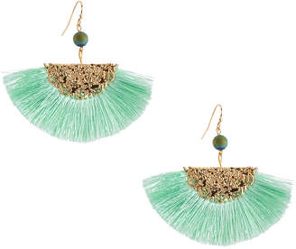 Kenneth Jay Lane Threaded Fan Fringe Earrings, Mint