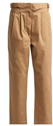 Loewe - Cotton Herringbone Chino Trousers - Womens - Beige