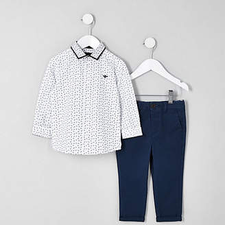 River Island Mini boys white ditsy print shirt outfit