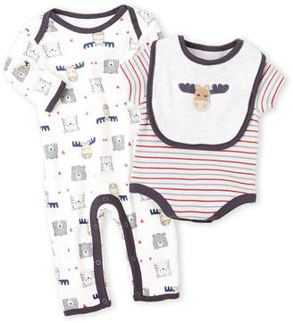 Rene Rofe Newborn/Infant Boys) 3-Piece Cow Bodysuit & Coverall Set