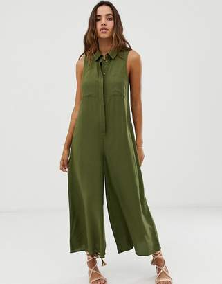 Asos Design DESIGN casual culotte shirt jumpsuit