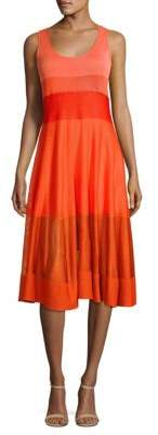 Agnona Sleeveless Colorblock A-Line Dress