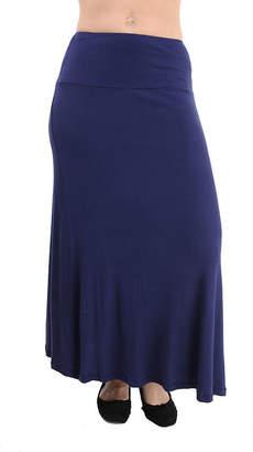 24/7 Comfort Apparel Solid Womens Elastic Waist Maxi Skirt