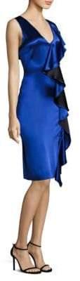 Diane von Furstenberg Side Ruffle Velvet Dress