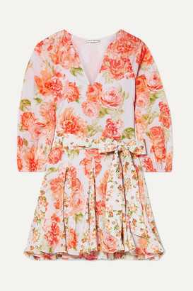 Alice + Olivia (アリス オリビア) - Alice + Olivia - Pali Belted Floral-print Cotton-voile Mini Dress - Coral