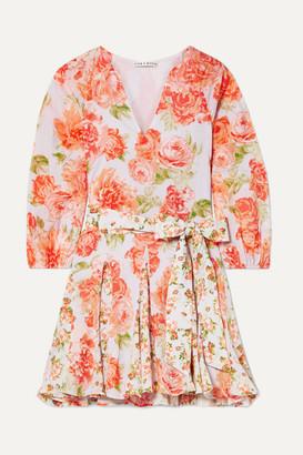 Alice + Olivia Pali Belted Floral-print Cotton-voile Mini Dress